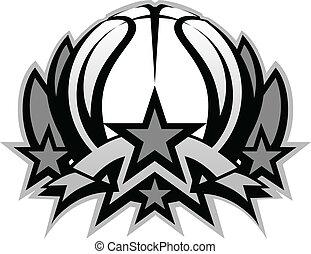 vector, basketbal, temp, bal, grafisch
