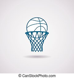 vector basketball ball and net icon