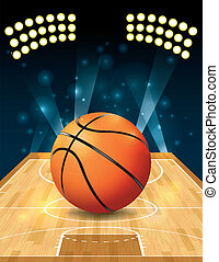 An illustration of a basketball on a hardwood court. Vector EPS 10 available. EPS file contains transparencies and gradient mesh. EPS is layered.