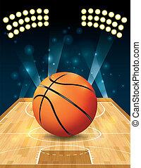 Vector Basketball Court - An illustration of a basketball on...