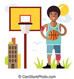 Vector Basketball. Flat style colorful Cartoon illustration.
