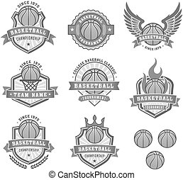 Collection of eight Vector Basketball logo and insignias in shades of gray