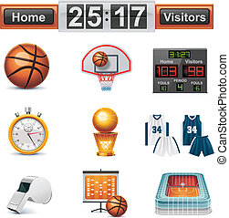 Set of the detailed basketball related icons
