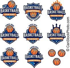 Vector Basketball Logos - Collection of eight colorful...