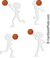 vector basketball players silhouette collection