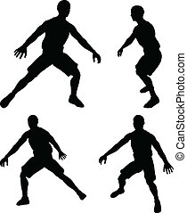 vector basketball players silhouette collection in defence position