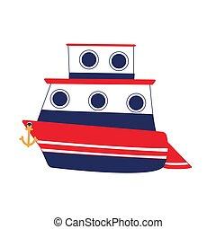 vector., bateau croisière, two-tier