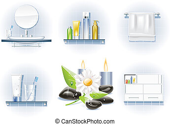 Vector bath icon set - Set of bath and spa related icons
