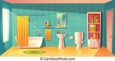 Vector bathroom interior, room with furniture