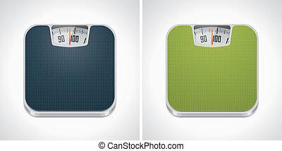 Vector bathroom weight scale icon - Square icon representing...