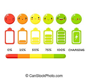 Vector battery charge indicator icon set. Different level of...