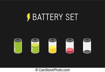 Vector battery illustration. Set of five different icons. From full to empty