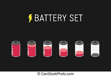 Vector battery illustration. Set of six red icons. From full to empty