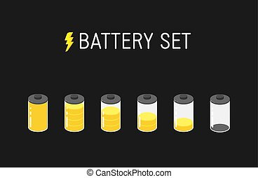 Vector battery illustration. Set of six yellow icons. From full to empty