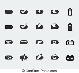 Vector battery mini icons set
