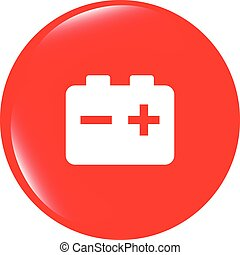 vector battery round web glossy icon button