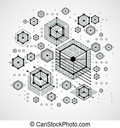 Vector Bauhaus abstract background made with grid and overlapping simple geometric elements, circles and striped honeycombs. Retro artwork, technology style graphic template for advertising poster.