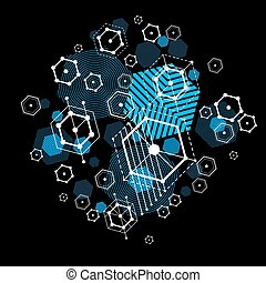 Vector Bauhaus abstract blue background made with grid and overlapping geometric elements, circles and striped honeycombs. Retro artwork, technology style graphic template for advertising poster.