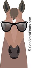 Vector bay brown color flat style horse head in sunglasses