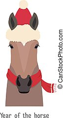 Vector bay brown horse head. christmas red hat and scarf