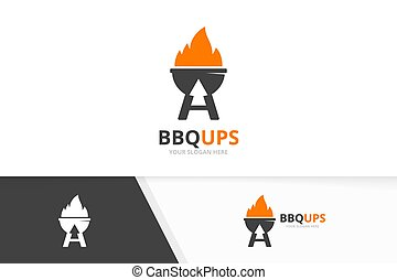 Vector bbq and arrow up logo combination. Grill and growth symbol or icon. Unique barbecue and upload logotype design template.