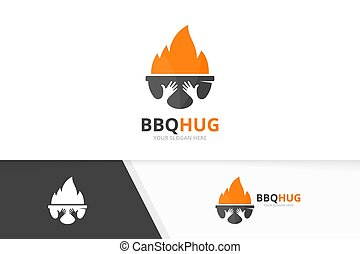 Vector bbq and hands logo combination. Grill and embrace symbol or icon. Unique barbecue and friendship logotype design template.