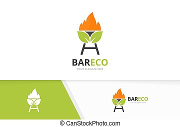 Vector bbq and leaf logo combination. Grill and eco symbol or icon. Unique barbecue and organic logotype design template.