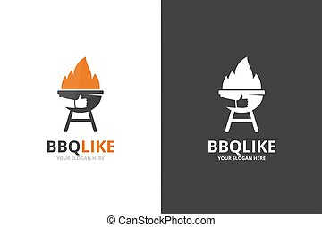 Vector bbq and like logo combination. Unique barbecue and choice logotype design template.