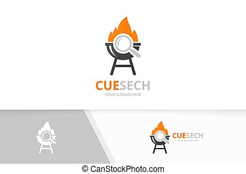 Vector bbq and loupe logo combination. Grill and magnifying symbol or icon. Unique barbecue and search logotype design template.