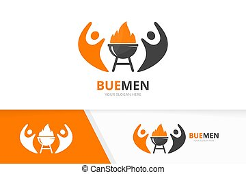 Vector bbq and people logo combination. Grill and family symbol or icon. Unique barbecue and team logotype design template.
