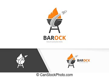 Vector bbq and rocket logo combination. Grill and airplane symbol or icon. Unique barbecue and flight logotype design template.