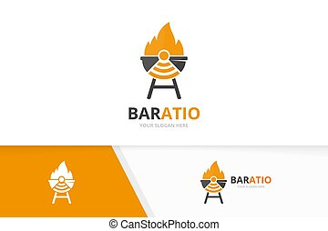 Vector bbq and wifi logo combination. Grill and signal symbol or icon. Unique barbecue and radio logotype design template.