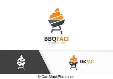 Vector bbq logo combination. Grill symbol or icon. Unique barbecue logotype design template.