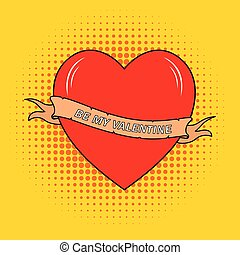 Valentine's day greeting card with real heart sketch with