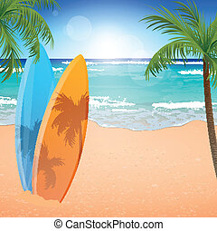 Vector Beach Background - Vector Illustration of a Beach...