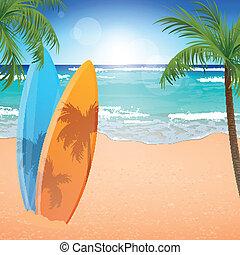 Vector Beach Background - Vector Illustration of a Beach...