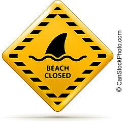 Beach Closed Sign - Vector Beach Closed Sign, Shark sighting...