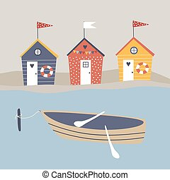 Vector beach huts and boat
