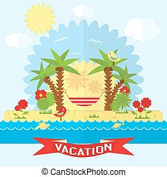 Vector beach illustration in flat style