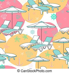 Vector beach seamless pattern. Lounge chair on white