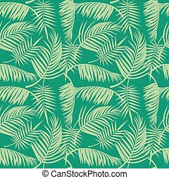 Vector beach seamless pattern with tropical palm tree leaves