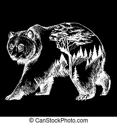Vector bear double exposure tattoo art. Canada. Mountains, compass. Brown bear Bear grizzly silhouette t-shirt design Tourism symbol, adventure, great outdoor.