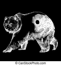 Vector bear double exposure tattoo art. Canada. Mountains,...