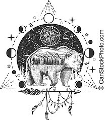 Vector bear tattoo or t-shirt print design