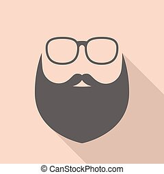 Vector beard and glasses, hipster sign