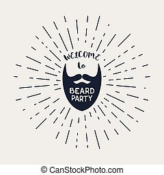Vector beard with hipster lettering