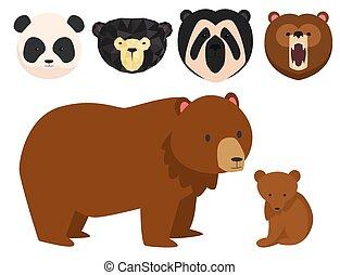 Vector bears different style funny happy animals cartoon predator cute bear character illustration