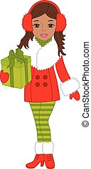 Vector Beautiful African American Girl with Christmas Gift Box