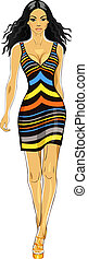 vector beautiful Asian girl in a striped dress