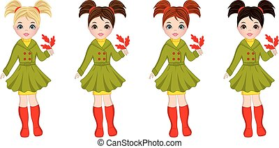 Vector Beautiful Autumn Girls with Oak Leaves - Vector...